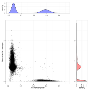 Differentiating males and females from exome sequencing data, using chrX heterozygosity (X axis) and coverage on the Y chromosome (Y axis). Males form a cluster on the left, females on the bottom right. A small number of unassigned individuals are also visible, some of whom are probable Klinefelter cases.